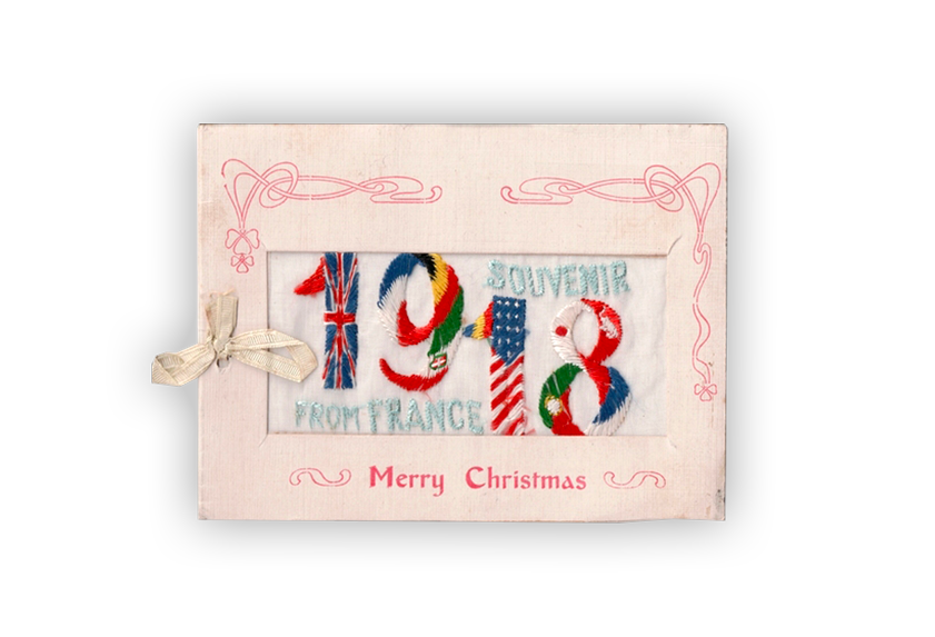 Image of an embroidered silk postcard with patriotic designs.