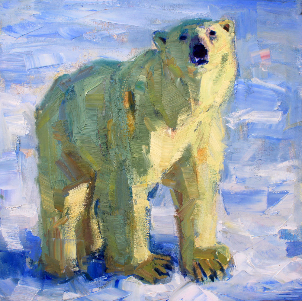"""Square Bear"", 20x20 inches, oil on canvas  SOLD"