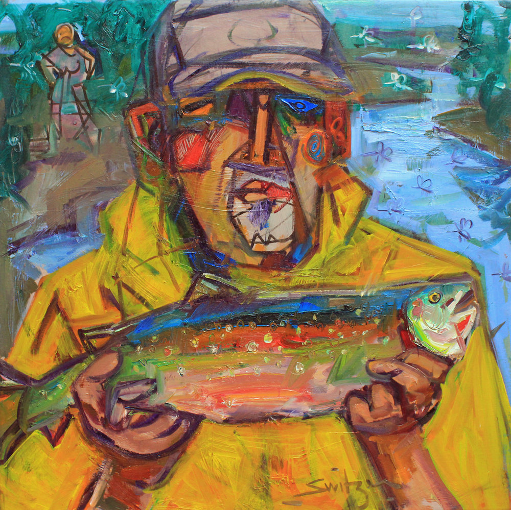 """Fisher of Fish"", 36x36 inches, oil on canvas, SOLD"