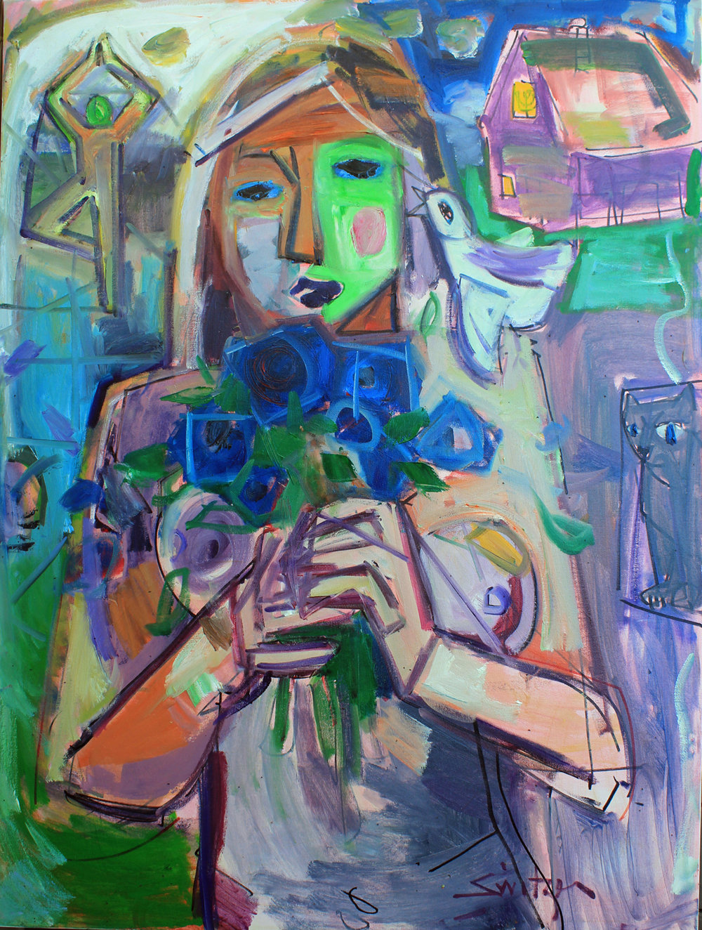 """Farm, Muse, & the Man"", 36x24 inches, oil on canvas, SOLD."