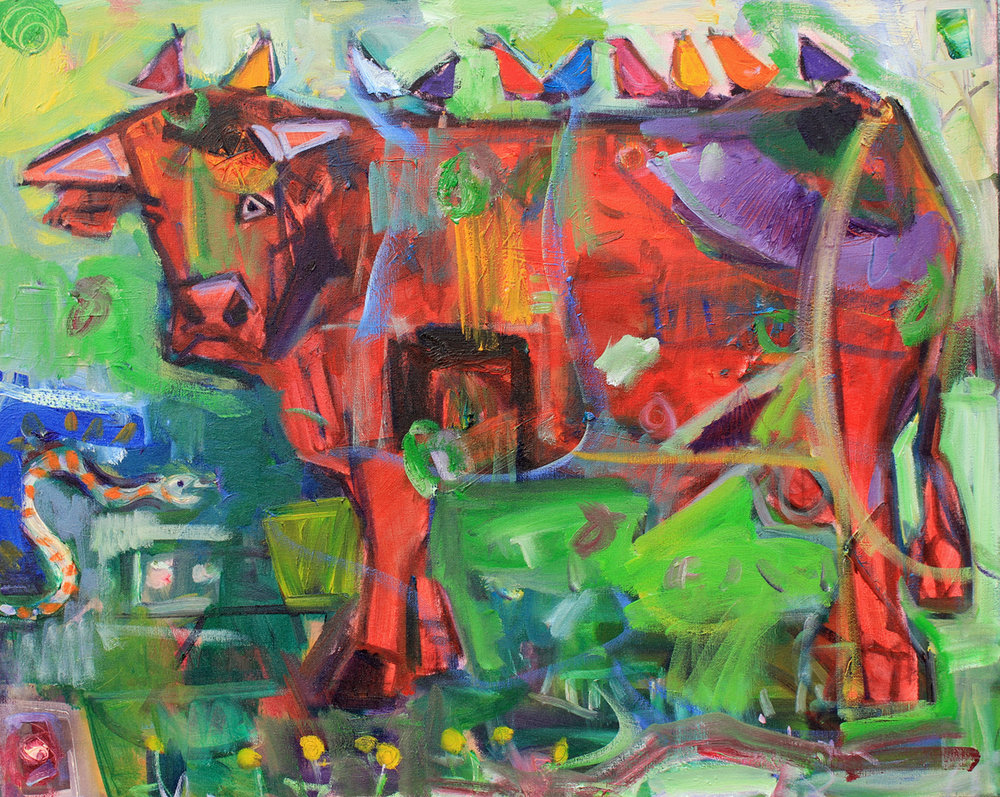 """""""Cosmic Cow"""", 24x30 inches, oil on canvas  SOLD"""