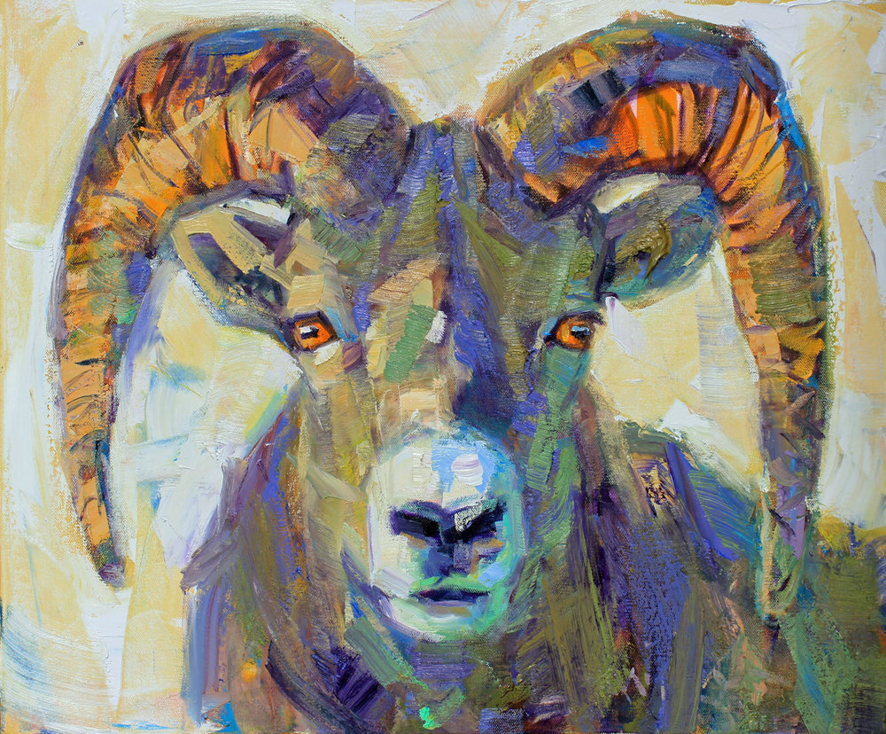 """Ram-ski"", 24x20 inches, oil on canvas  $2500"