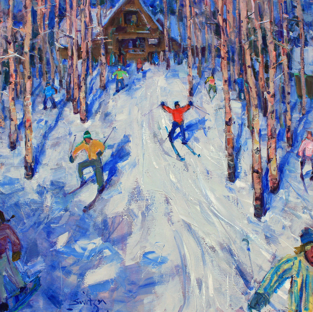 """Tree Skiing"", 36x36 inches, oil on canvas  SOLD"