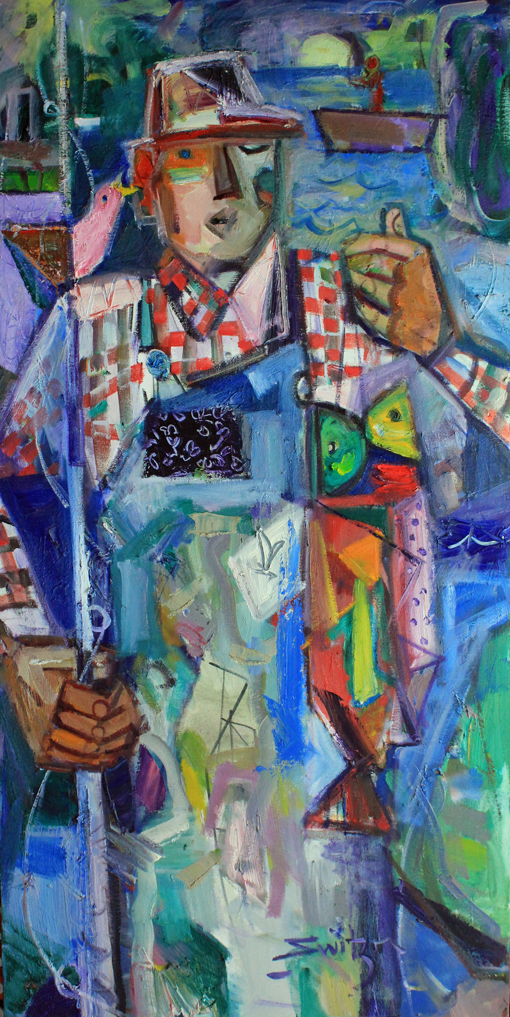 """Dream Fish"", 48x24 inches, oil on canvas  $4700"