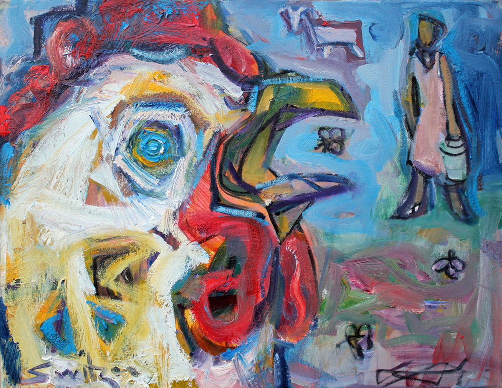 """""""Chicken Eye View"""", 14x18 inches, oil on canvas  $1250"""