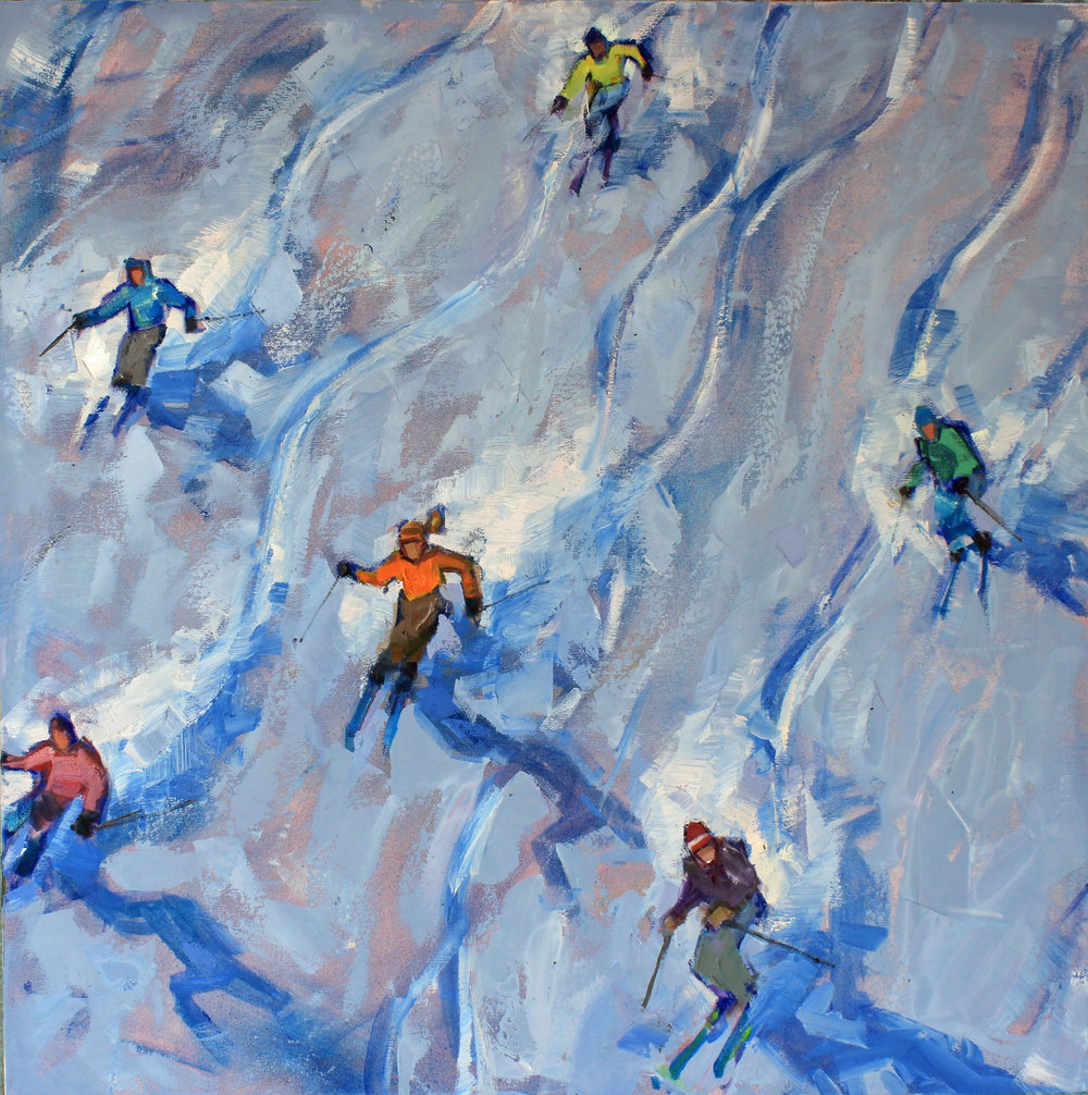 """Powder Hogs"", 36x36 inches, oil on canvas  $4600"