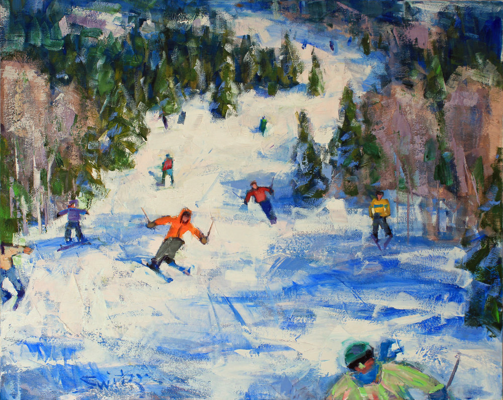 """Spring Skiing"", 24x30 inches, oil on canvas"