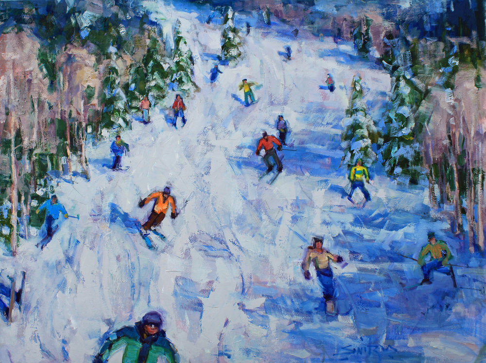 """Ski Day"", 36x48 inches, oil on canvas  $7000"