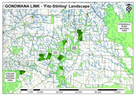 Figure 1: A map of the Fitz-Stirling landscape, an actively engaged operational area of Gondwana Link, where properties located between the Stirling Ranges and Fitzgerald River National Parks have been purchased and restored to increase the connectivity of this fragmented landscape. Clearly visable in the image are the Corackerup and Peniup Nature Reserves, along with 8 properties purchased specifically to contribute to the Gondwana Link vision. The 400 ha of cleared land featured in this case study - part of Bush Heritage Australia's larger Monjebup Reserve - is the dark green area circled in red.