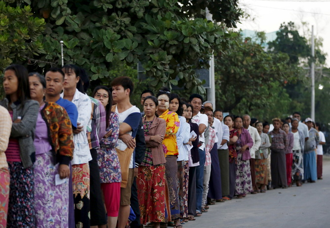 Voters queue up in Mandalay. Reuters/Olivia Harris