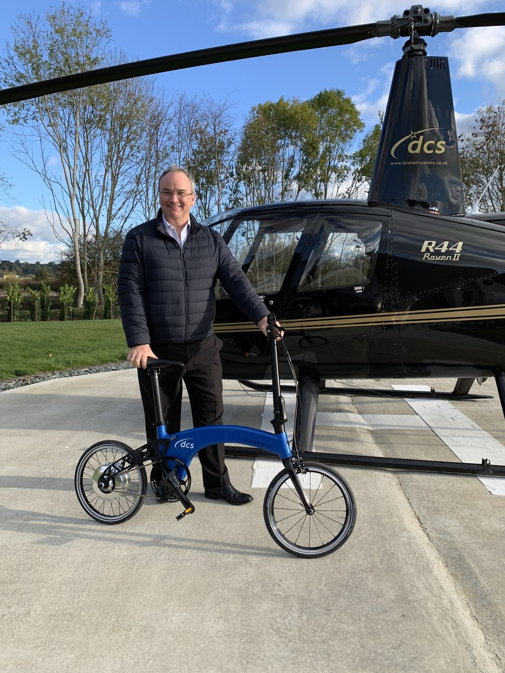British Entrepreneur, Denys Shorrt, with his custom DCS Electric Hummingbird and  Raven II helicopter.