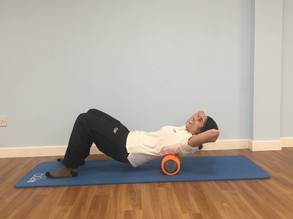 Foam rolling upper back