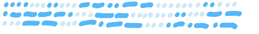 three lines of mid blue dots and dashes interspersed with light blue dots, representing Morse code.