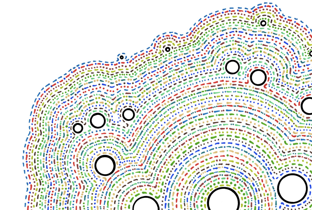 A pattern of multicoloured dots & dashes, wrapped in concentric layers around hollow black circles, on a white background. These dots and dashes do not encode anything other than an arbitrary set of rules used to draw them.