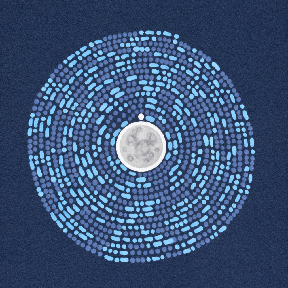 A pattern of light & mid blue dots & dashes on a navy background, spiralling outward from a central white & grey circle that looks like a moon. It encodes a poem which you can find  here .