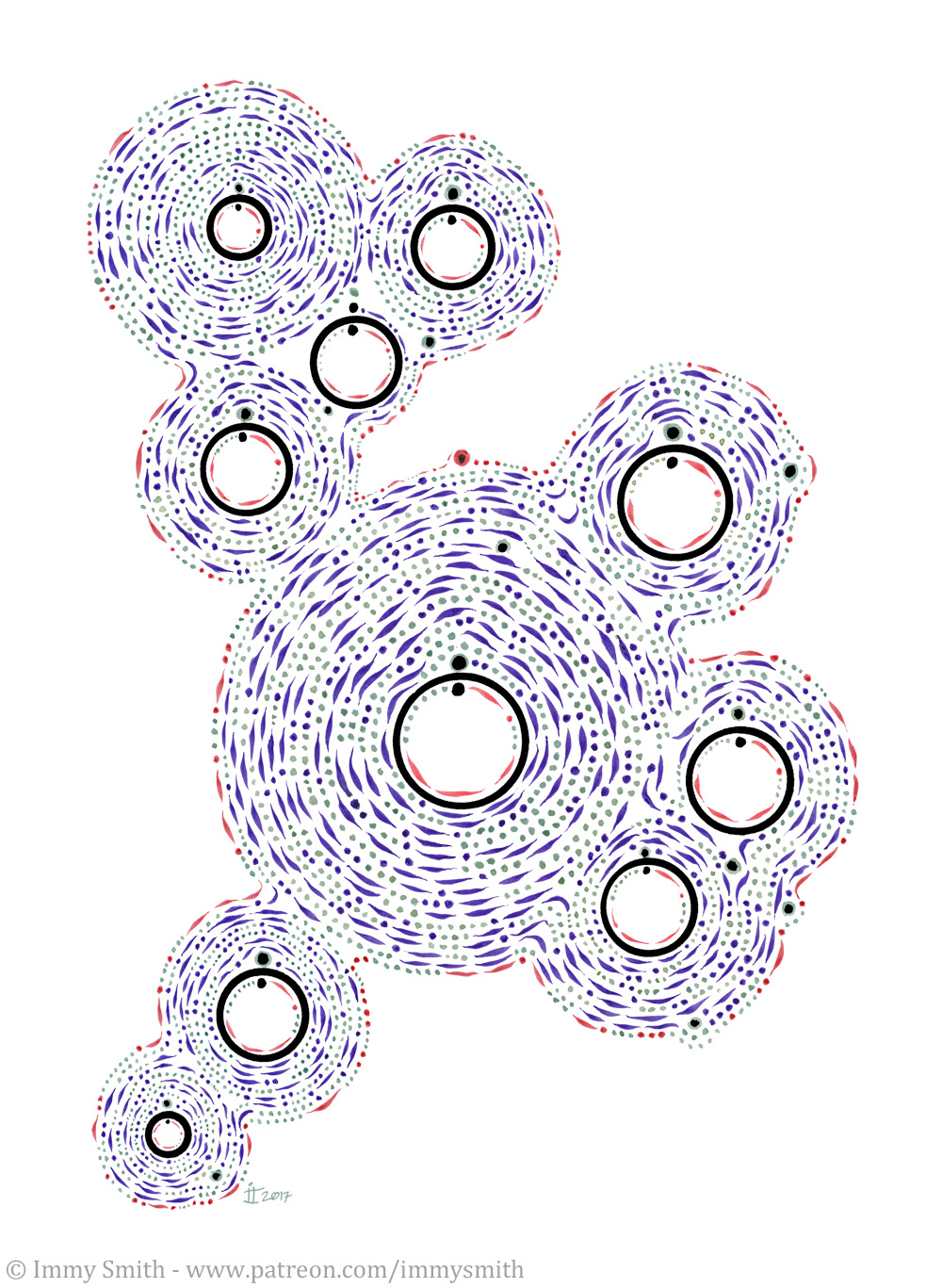 an irregularly shaped pattern on a white background, made of dots and dashes in shades of red, aquamarine and dark purple, spiralling outwards from black circles, with further dots and dashes inside them
