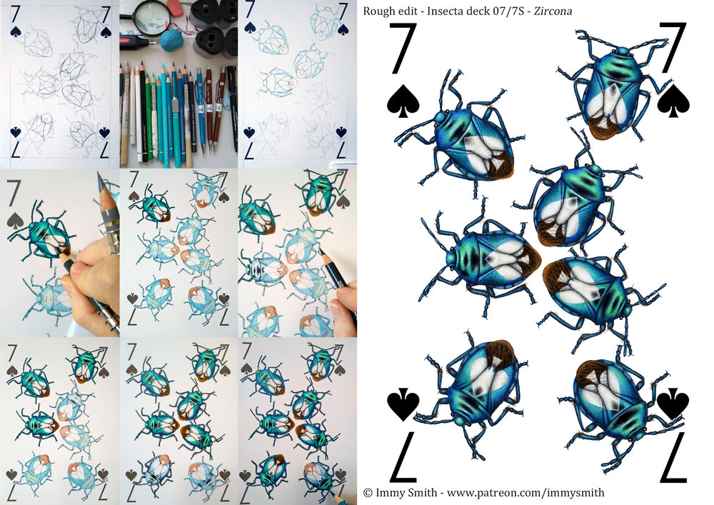A collage of 9 work in progress photos, and the completed design, of a 7 of Spades playing card, featuring seven shiny metallic blue shield bugs, each with a white spade symbol on its back.