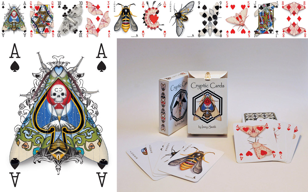 Image description; a marketing image for a transformations deck of poker cards, themed around moths and camouflage,