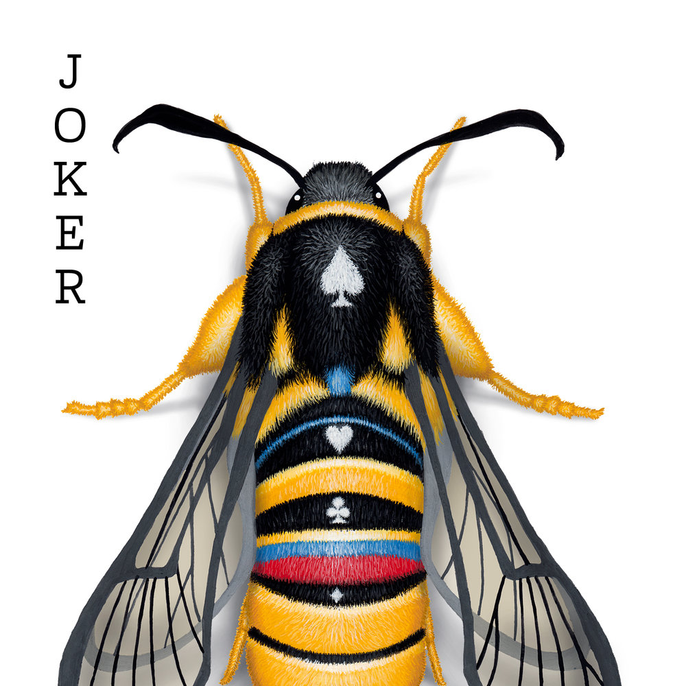 A joker playing card design with a lunar hornet moth hand painted on it.