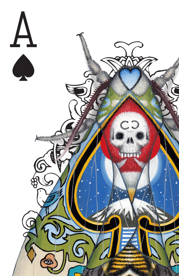 The corner of an Ace of Spades playing card design. The design has been hand-painted with moths that look like they have evolved a wing pattern that camouflages them on the card.