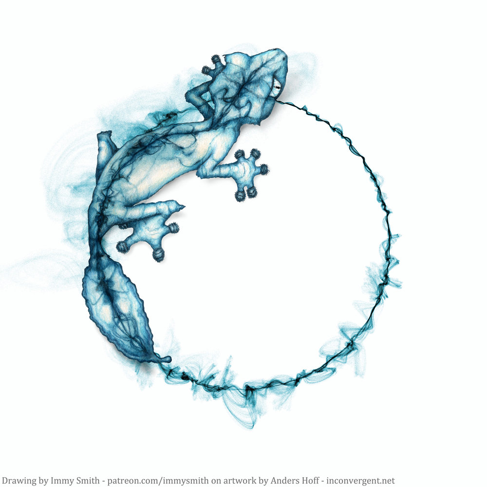 A blue leaf-tailed gecko, drawn in colour pencil over a blue circular swirling smoke-like pattern