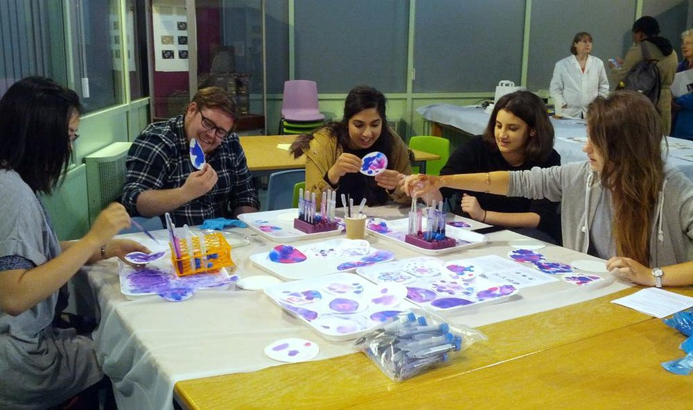 An ink workshop for the British Science Festival at the Colour Museum, Bradford