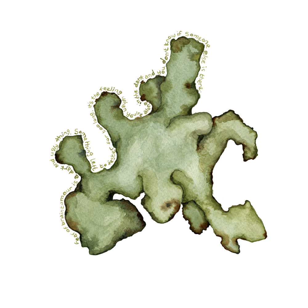 Image description; an abstract watercolour painting in greens and browns, showing a lumpy looking object, with tiny scrawls of text around it, describing a feeling of ugliness
