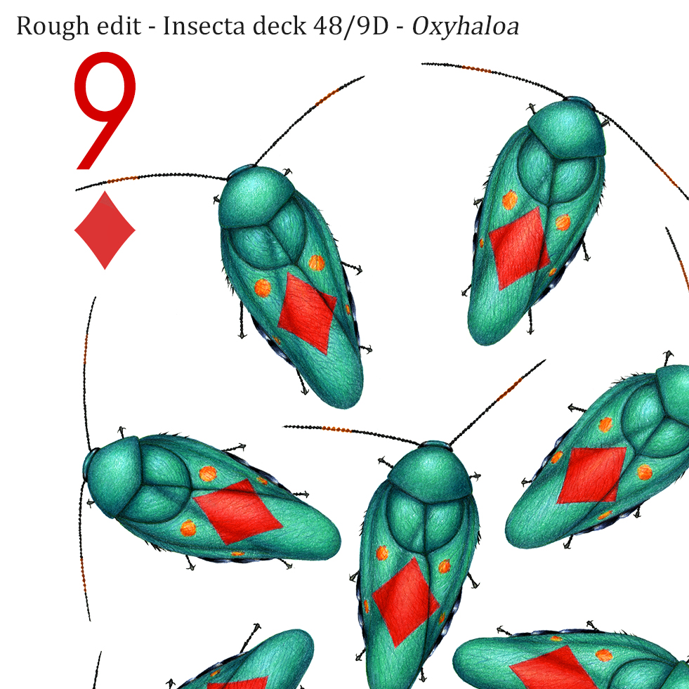 Image description; the corner of a 9 of diamonds playing card design made in colour pencil. It features 9 shiny green blattodeans, each with a red diamond symbol on it's back.