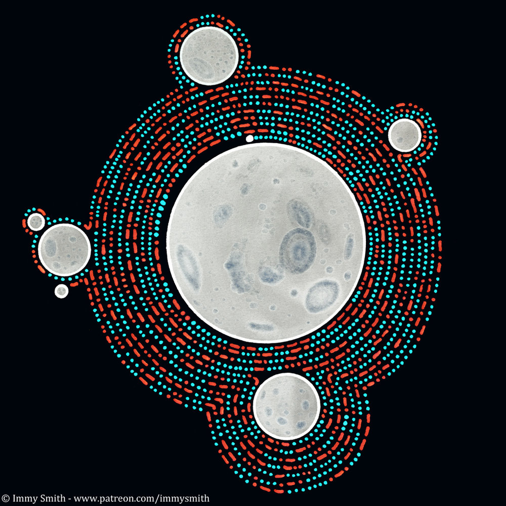 Image description; a pattern of red and turquoise dots and dashes, spiralling out from a large white and grey moon-like circle, and wrapping around other smaller randomly  located moons as the pattern grows. The pattern is on a dark grey background.