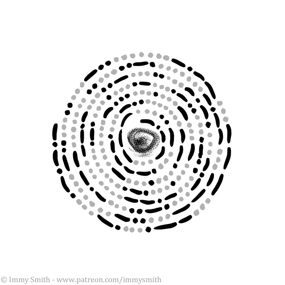 Image description; a spiral made of black & grey dots and dashes (representing morse code) around a black charcoal-like smudge.