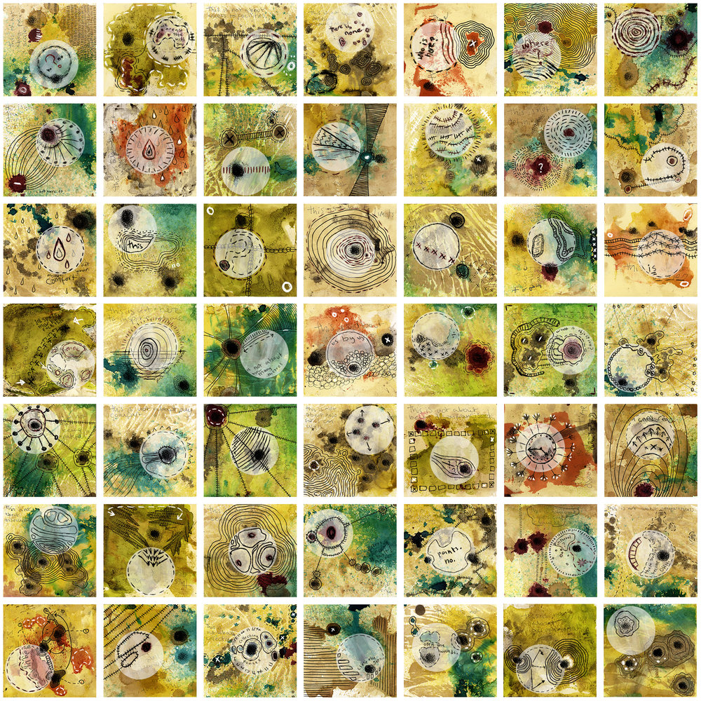 '49 maps of disability body politics drawn while moving' - a 1 m sq array of collage with drawing & writing in mixed media, on 49 card tiles hand-dyed by Scott Mantooth (USA)