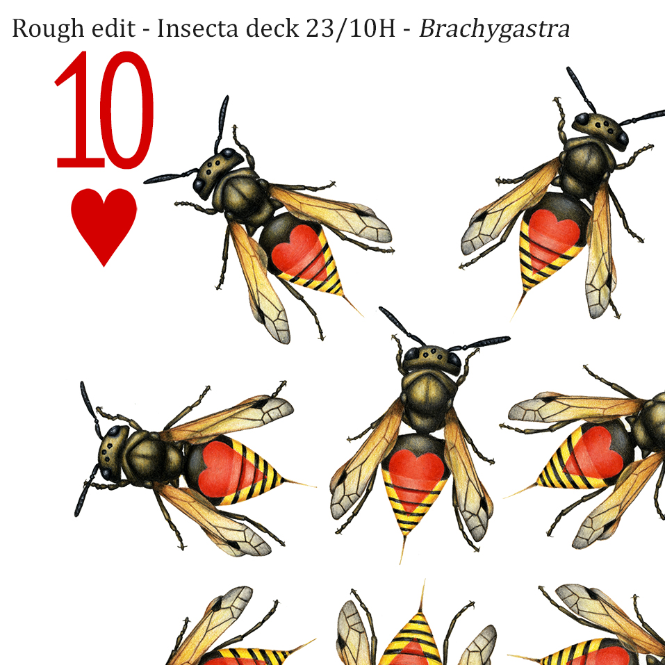 Image description; the top left corner of a playing card design drawn in colour pencil. It features 10 yellow and black mexican honey wasps, each with a red heart symbol on it's back.