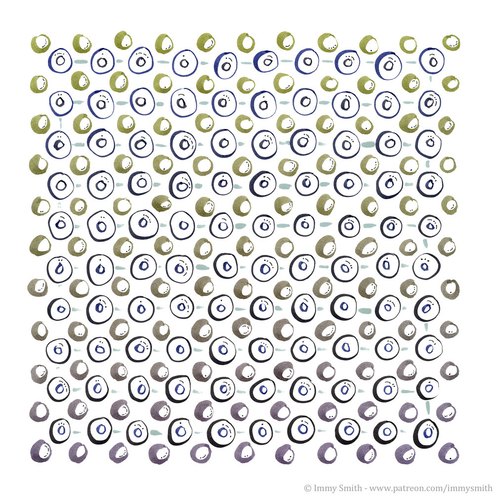 Image description; an abstract ink pattern made of colourful circles within circles, with tiny black markings encoding repetitive phrases in morse code.