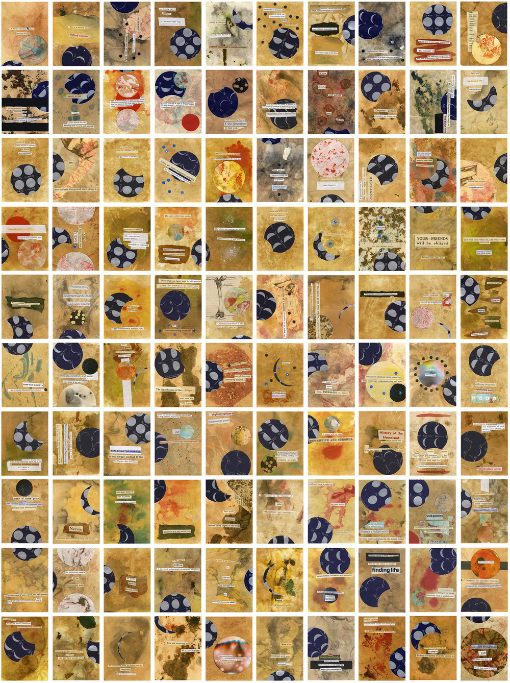 Image description; a collage of 10 x 10 small rectangular card tiles, each with paper collaged onto it - some with moon patterns on, some abstract, and some text cut from found/old books to form a kind of collage poetry.
