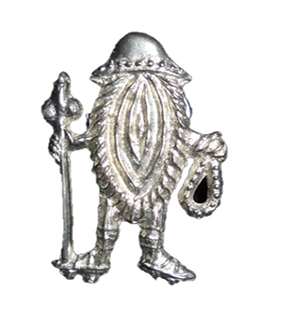 Erotic pilgrim badge, Netherlands. This pewter badge dates to the late 14th/early 15th century and depicts a vulva dressed as a pilgrim. Such images were believed to lure evil spirits away from the pilgrim.