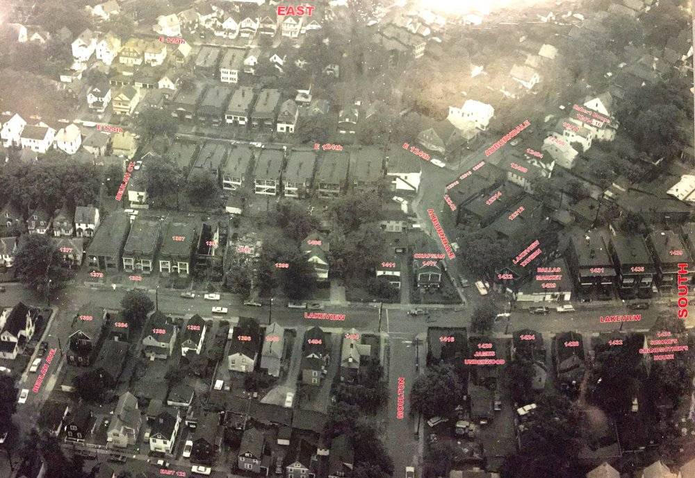 Aerial view of scene next day
