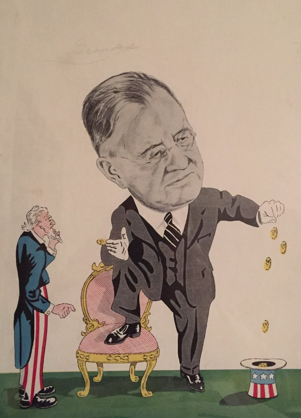 Oh, yes, I forgot to say that when he was sworn-in as the official in charge of the national debt, he was also the president of the International Brotherhood of Magicians. This cartoon from the  Washington Post  in 1933.