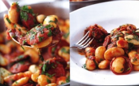 Chorizo & butter bean stew with garlic & thyme - by Rick Stein from Food Heroes (BBC Books)