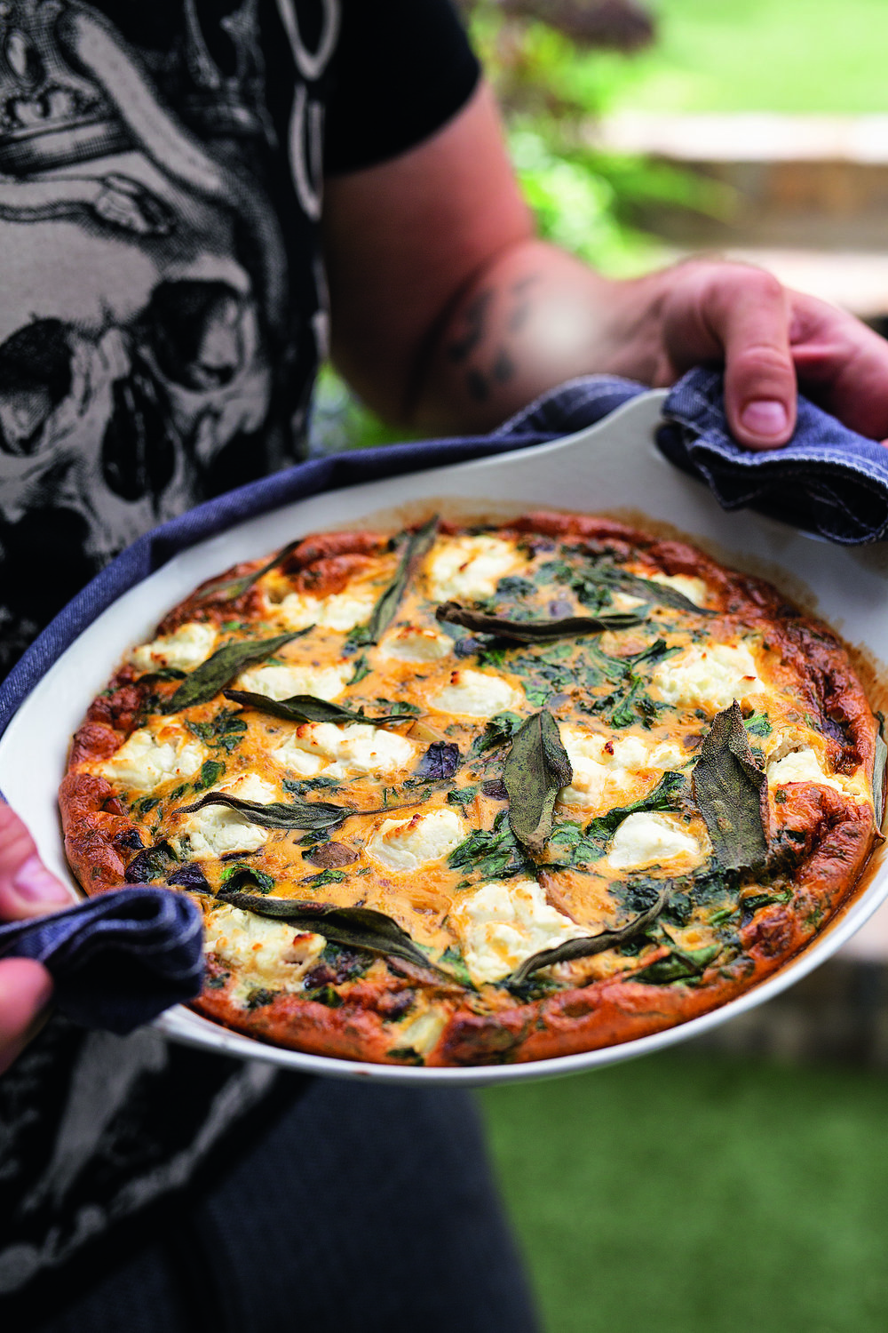 New potato, spinach and goats' cheese frittata - from Tom Kerridge's Fresh Start – How to cook amazing food at home (Bloomsbury) photography © Cristian Barnett.