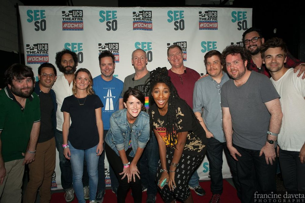© Francine Daveta Photography  DCM18: John Gemberling, Gil Ozeri, Jason Mantzoukas, Fran Gillespie, Jon Daly, Matt Walsh, Mary Holland, Jessica Williams, Ian Roberts, Chad Carter, Connor Ratliff, Horatio Sanz, Drew Tarver