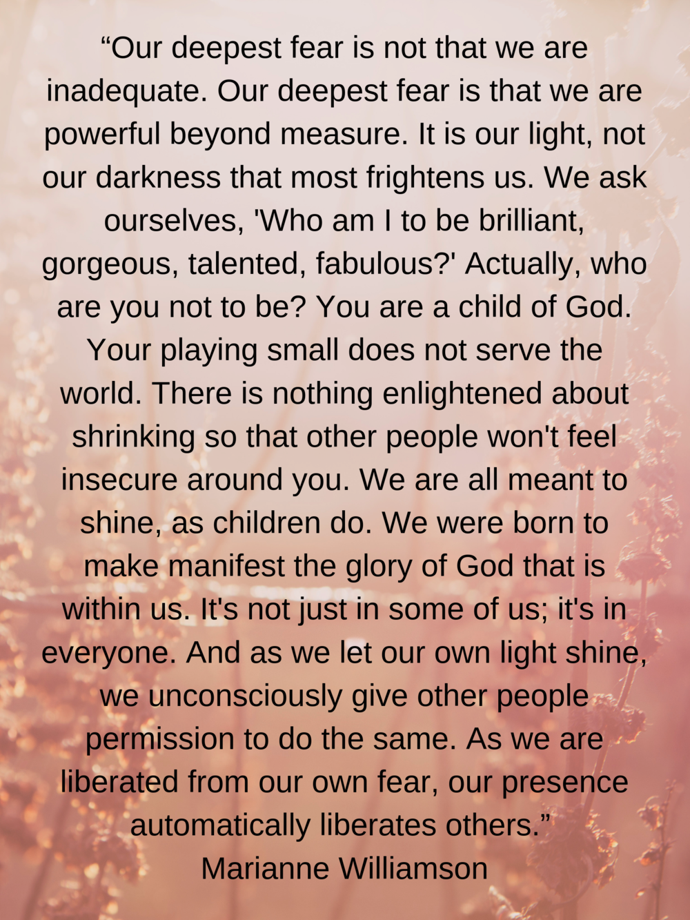 """""""Our deepest fear is not that we are inadequate. Our deepest fear is that we are powerful beyond measure. It is our light, not our darkness that most frightens us. We ask ourselves, 'Who am I to be bril.png"""