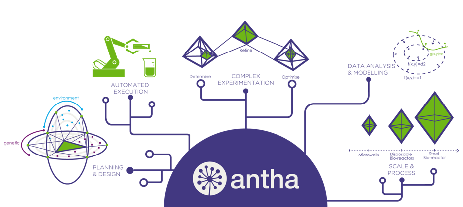 Figure 1.  Antha accelerates the whole DOE workflow – from planning through to scaling. The eloquent control of liquid handling is at the core of the Antha platform, resulting in a biology-centric user experience that improves reproducibility and traceability, all whilst enabling the scientist to undertake more complex experimentation.