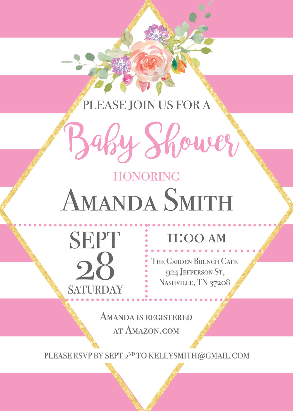 Stripes and Glitter Baby Shower Invitation