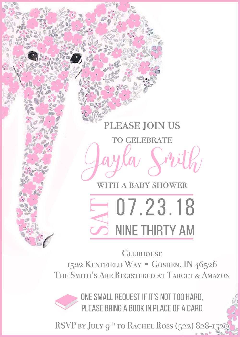 Floral Elephant Baby Shower Invitation