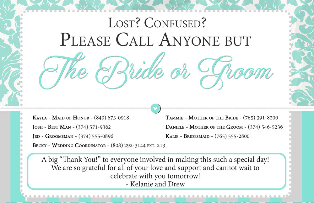 Day-of-Wedding Contact Information/Thank You Card