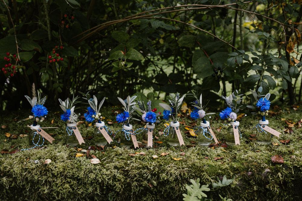 blue wild flower buttonholes