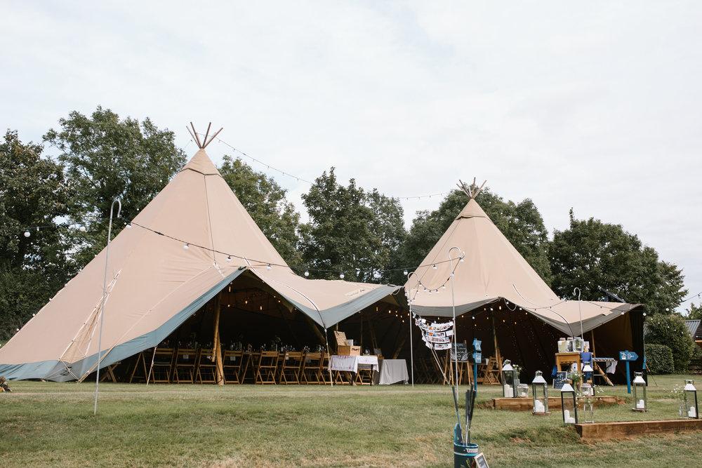 back garden wedding with huge tipi