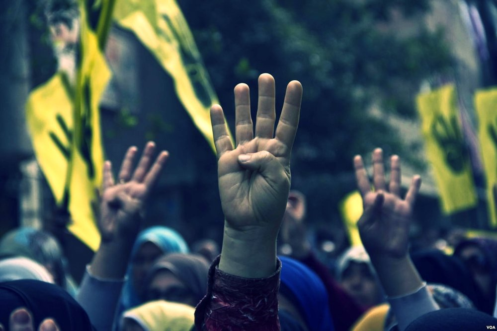 Protesters_raise_their_hands_with_the_four_finger_R4bia_sign_during_a_march_in_Maadi-Cairo_on_the_six_month_anniversary_of_the_violent_crackdown_against_supporters_of_ousted_President_Morsi_14-Feb-2014.jpg