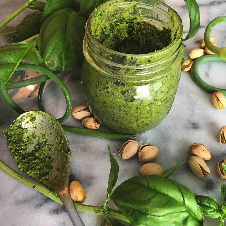 Basil, Garlic Scape, and Pistachio Pesto -