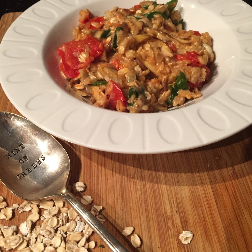 Tomato, Spinach and Mushroom Savory Oats -